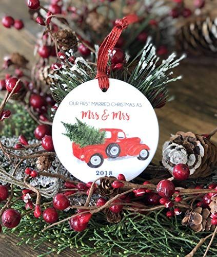 0017578868e Married Gay Our First Married Christmas as Mrs and Mrs 2018 Red Vintage  Pickup Truck with Tree Newlywed Couple Ceramic Round 3