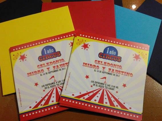 Divertidas tarjetas tipo circo, para un cumple tematico