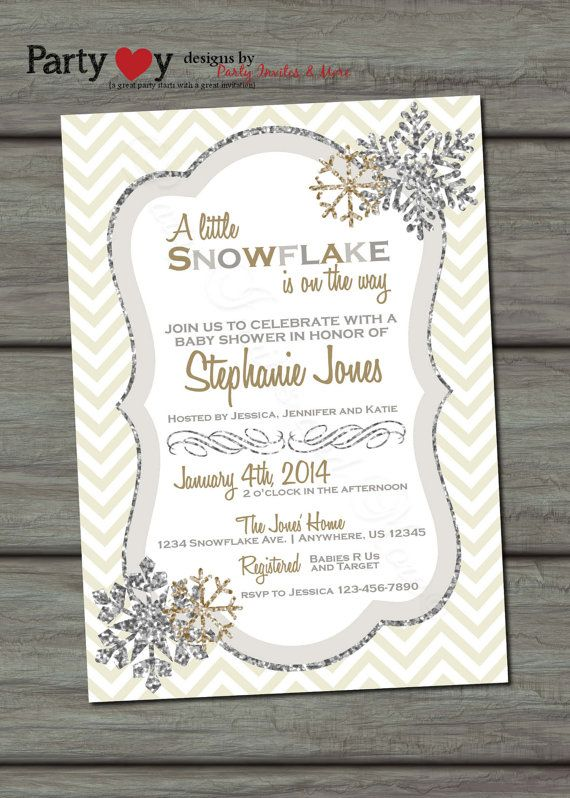 Snowflake Baby Shower Invitation Winter by PartyInvitesAndMore, $10.00