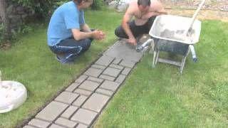 How to make cobblestone-look walkway, via YouTube.