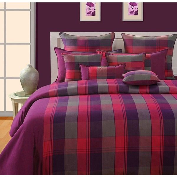 #SWAYAM MAGENTA CHECKS #MAGICALLINEA #BEDSHEET-1513 This is a #beautiful mix and match of tempting #shades to bring the ultimate vitality in your setting.