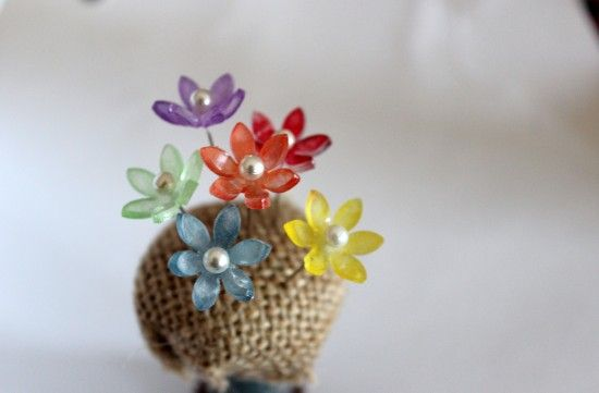 Shrink Plastic flower head pin close-up