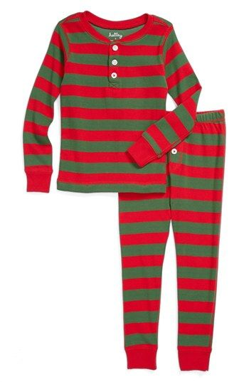 Hatley 'Holiday Stripe' Two-Piece Fitted Pajamas (Toddler Boys) available at #Nordstrom