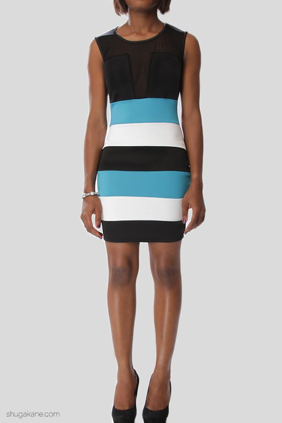 Colour Block Mesh Cutout Dress
