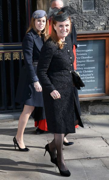 Princess Beatrice and Sarah Ferguson attend a memorial service for Sir David Frost at Westminster Abbey on March 13, 2014 in London, England.