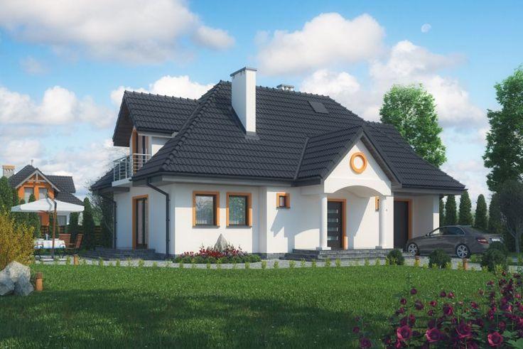 Budynek ZIELONKI (DM-6332) parterowy z poddaszem mieszkalnym, bez podpiwniczenia, z garażem.  Program: 3 pokoje, salon, kuchnia, spiżarnia, 2 łazienki, kotłownia, garderoba oraz garaż.