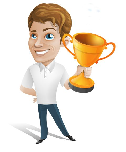 Image for Free Man Holding Trophy Vector Character