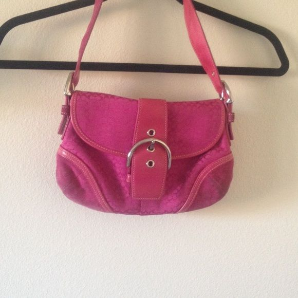 HOT PINK COACH PURSE Super cute hot pink coach purse. Has some ware on the bottoms but still is very cute! Has coach tag and two very big pockets inside. A zipper compartment as well. Closes with a clasp. Bundles and discounts available !! Super fast shipping Coach Bags