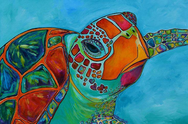 Seaglass Sea Turtle Painting  - Seaglass Sea Turtle Fine Art Print
