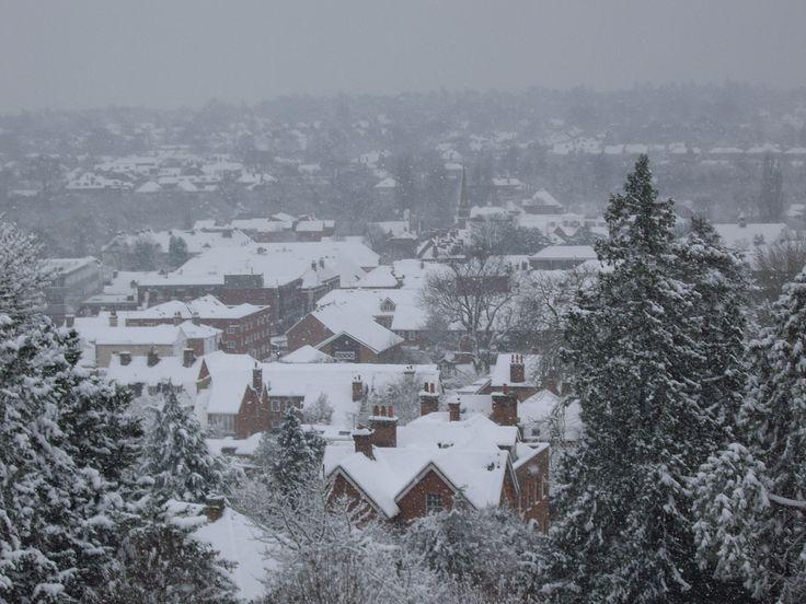 Overlooking Farnham Town. Snow at Farnham Castle. Perfect for a #winter #wedding.