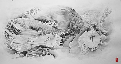 25 best dragon art images on pinterest dragon art japanese dragon and japanese art - Dessin dragon japonais ...