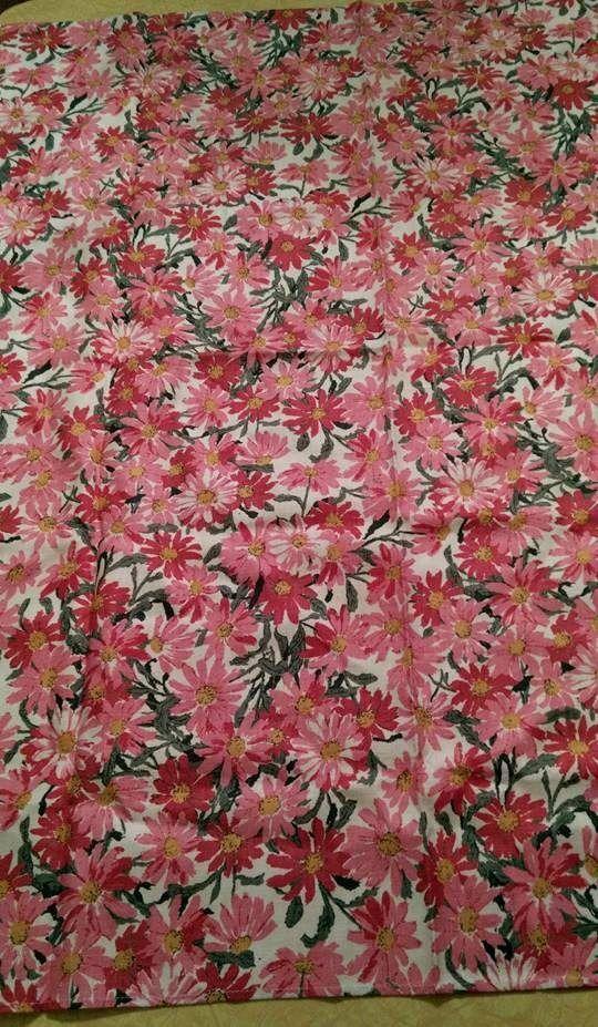 Vintage Pink Crazy Daisy Barkcloth 50x49 Tablecloth/Fabric