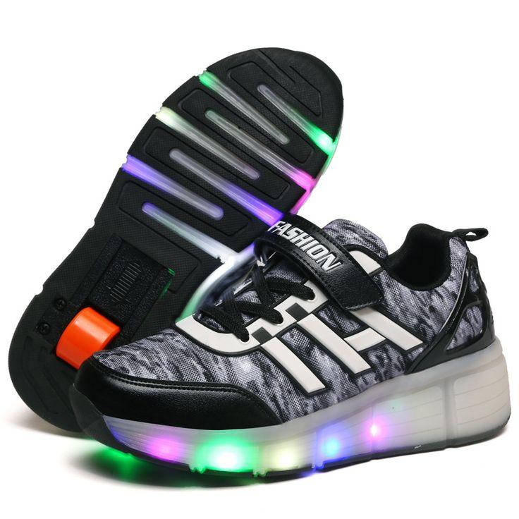 New 2016 Child Junior Girls Boys LED Light  Roller Skate Shoes For Children Kids Sneakers With Wheels Breathable