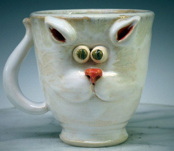 Cat Face Mug -  Super cute green eye Kitty - Hand made mugs & pottery by Heidi