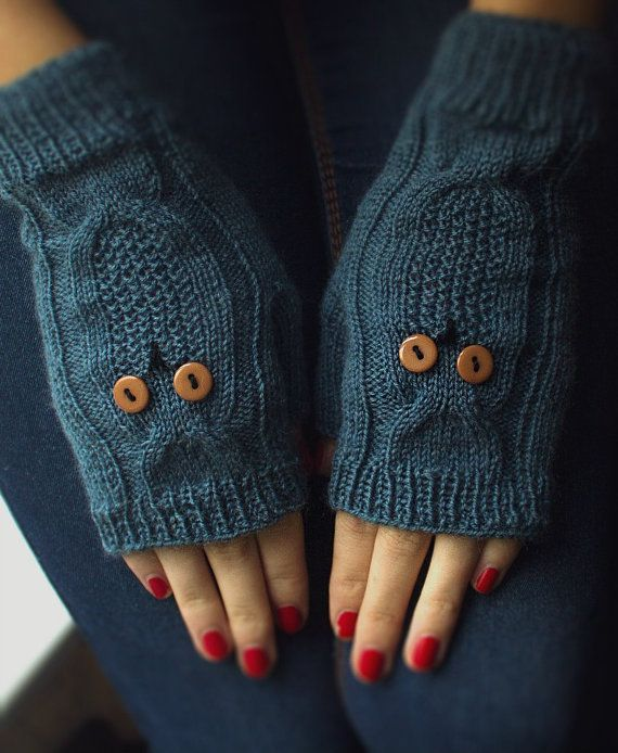 Knited Dark Blue Owl Wrists / Mittens / Fingerless by NatalieKnit