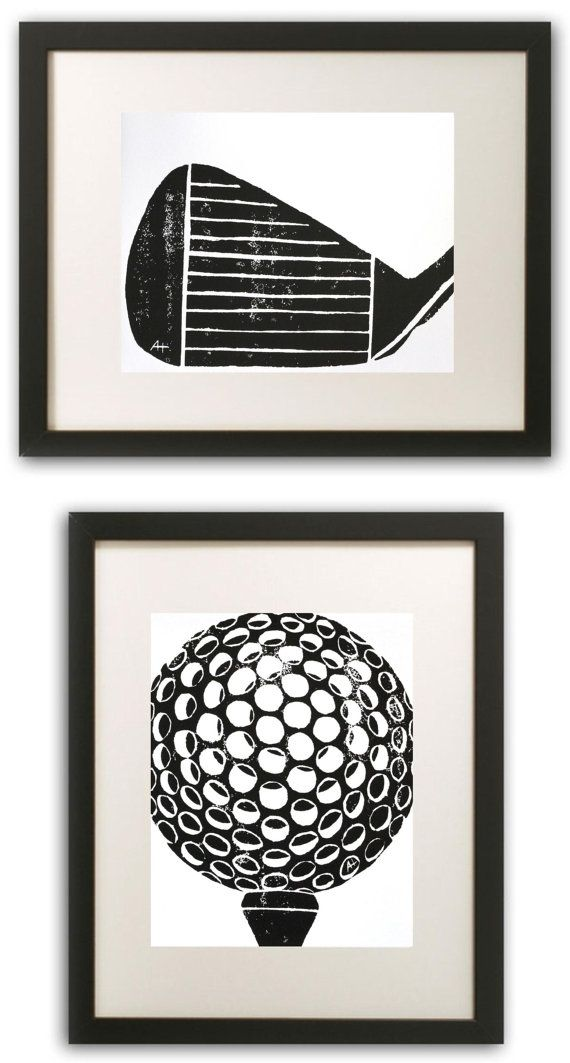 Golf Art Print hand-carved & printed Golf Ball with Tee 11