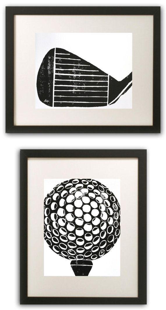 Club de golf Art Print sculptés à la main & par AnneHallDesigns