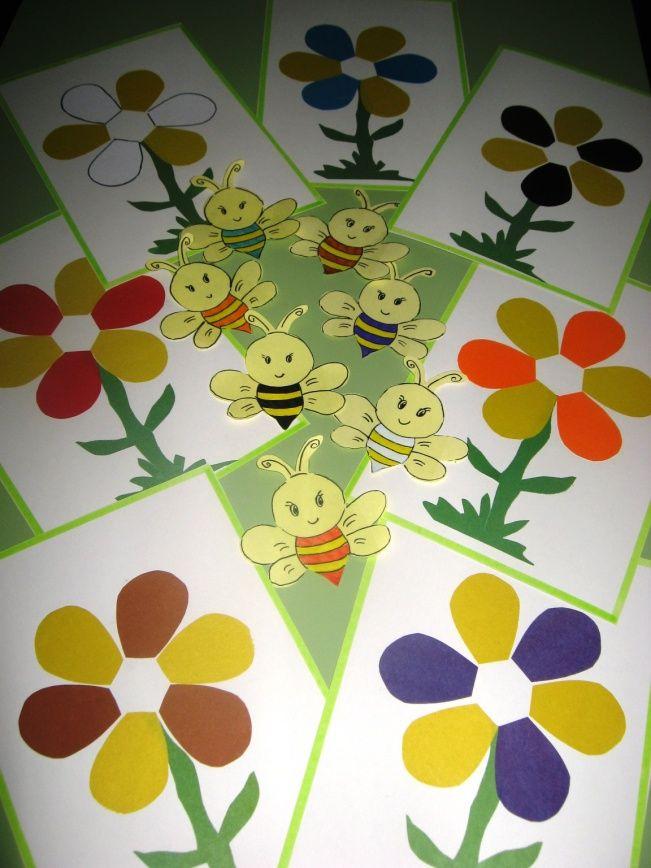 Подбери пчелке цветочек.