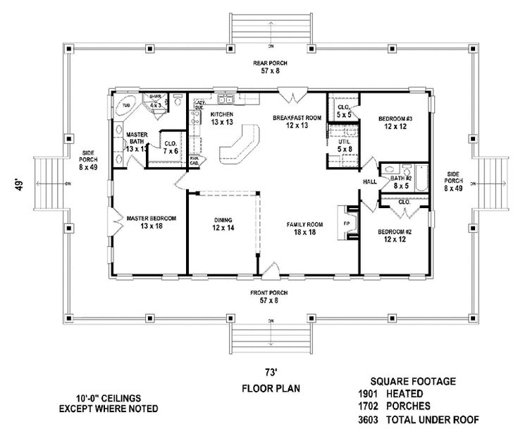 Country House Plans low country house plans originated as humble one room cottages in the original english settlements in the tidewater regions of maryland and virginia Country House Plan 46666