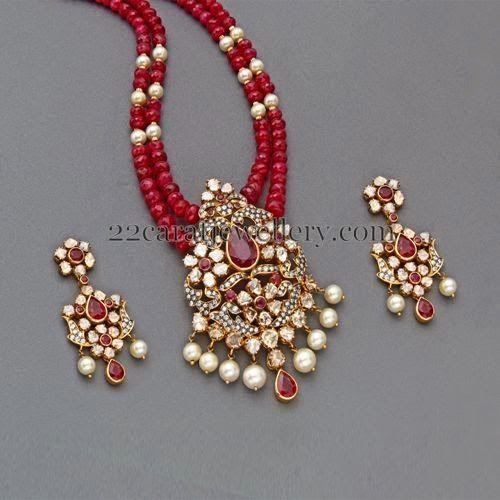 Jewellery Designs: Ruby Beads Set with Designer Locket