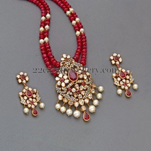 Jewellery Designs: Ruby Beads Set with Designer Locket
