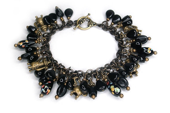 Black Coffee Charm Bracelet with vintage Japanese millefiori glass by HScharmcreations on Etsy, $175.00
