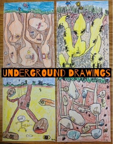 Second graders are finishing up some really creative drawings set under the ground, so we did a...