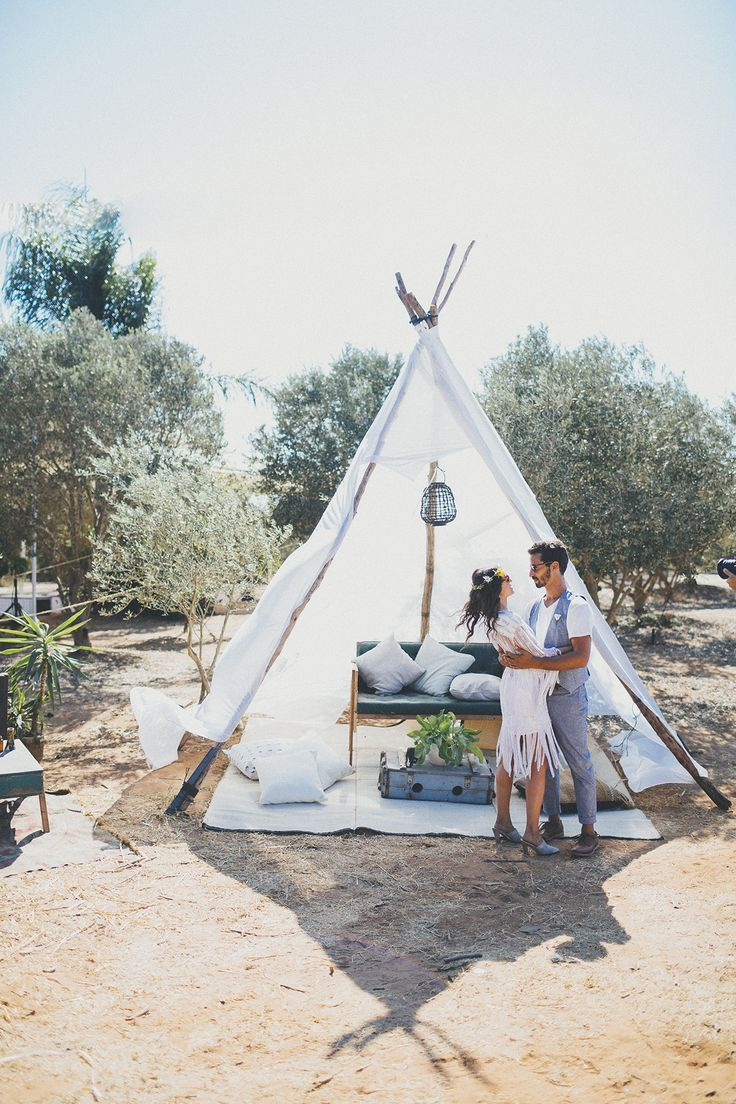 A tipi wedding lounge at this bohemian wedding venue in an olive grove! Photo: Liron Erel