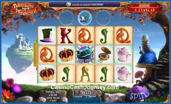 Adventures Beyond Wonderland is a progressive Playtech slot released in 2017. It features an expanding reel-set that can grow from 5 to 7 reels, and from 243 to 2,187 ways to win. Watch out for the Bonus Bubbles and Cheshire Cats for one of the many mysterious bonuses.  http://www.casinocashjourney.com/slots/playtech/adventures-beyond-wonderland.htm
