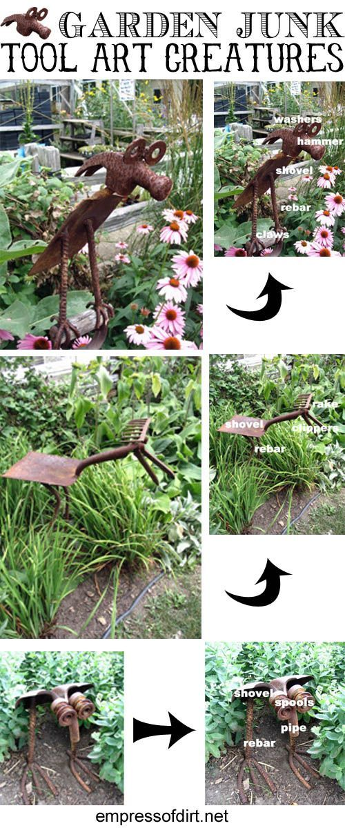 Garden Junk Tool Art Creatures - don't discard your broken or old tools, make them into fun and funky critters hiding in the undergrowth. #rustic-garden-art