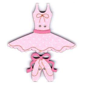 Botones decorativos de madera con forma de vestido y calzado de ballet.  Medida: 6 x 4.5 cm. la medida indica el tamaño del botón más grande del pack.  El pack incluye tantos botones como aparecen en la imagen.