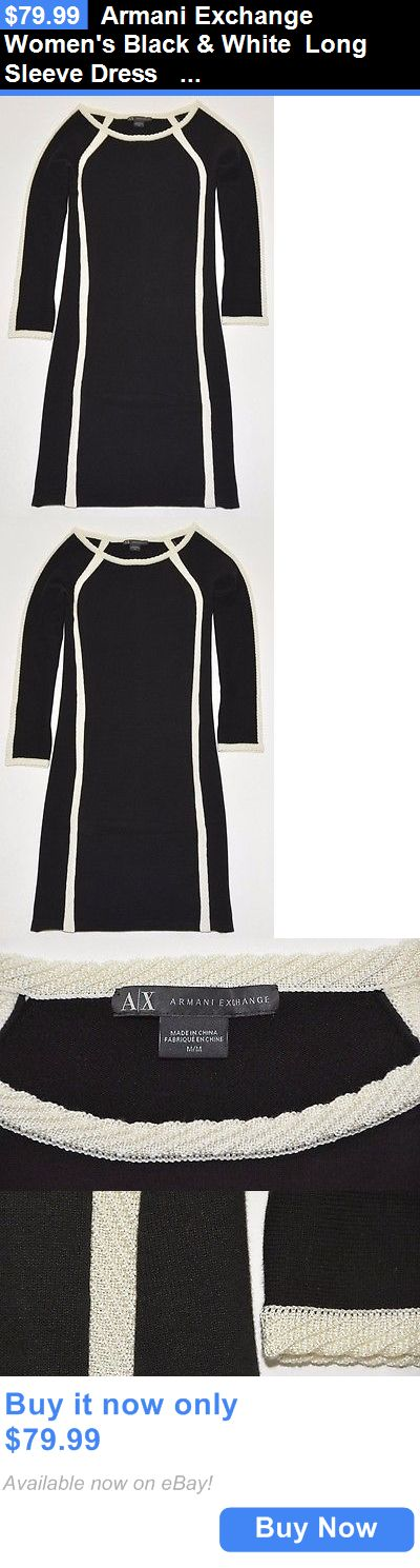 Women Fashion: Armani Exchange Womens Black And White Long Sleeve Dress Size M BUY IT NOW ONLY: $79.99