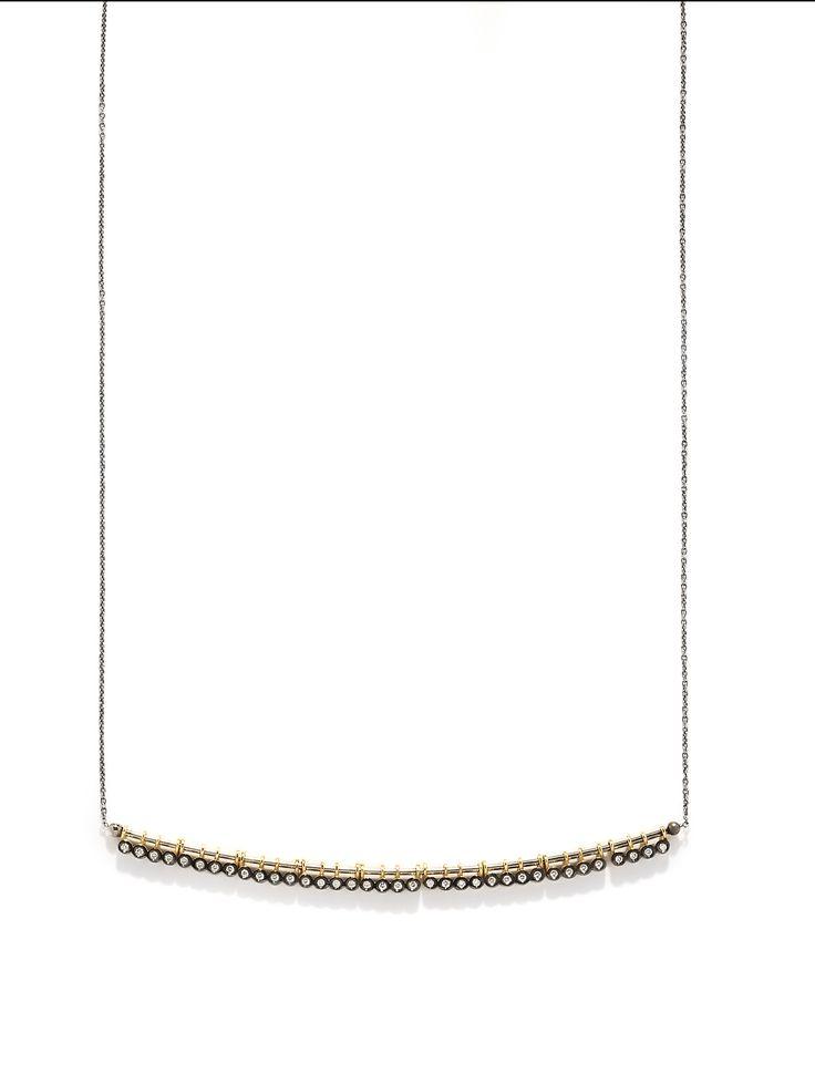 CHARNIERES pendant, yellow & black gold 18K with brilliant-cut diamonds
