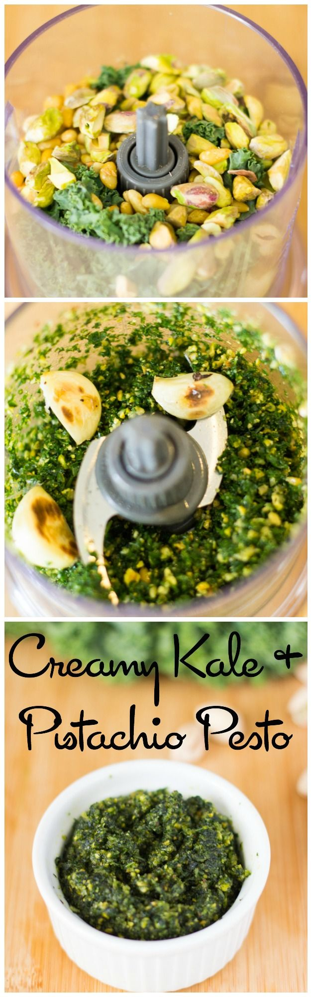 Kale and Pistachio Pesto is the best pesto I have ever had! It's so creamy and flavourful, and perfect for a dip, your pasta or on anything!
