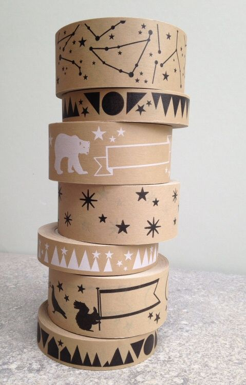 Masking tape - Kraft paper parcel - can also stamp own personalised zebra print on plain parcel paper......