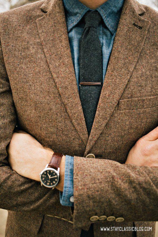 Brown Tweed Jacket; Blue Chambray/Denim Shirt