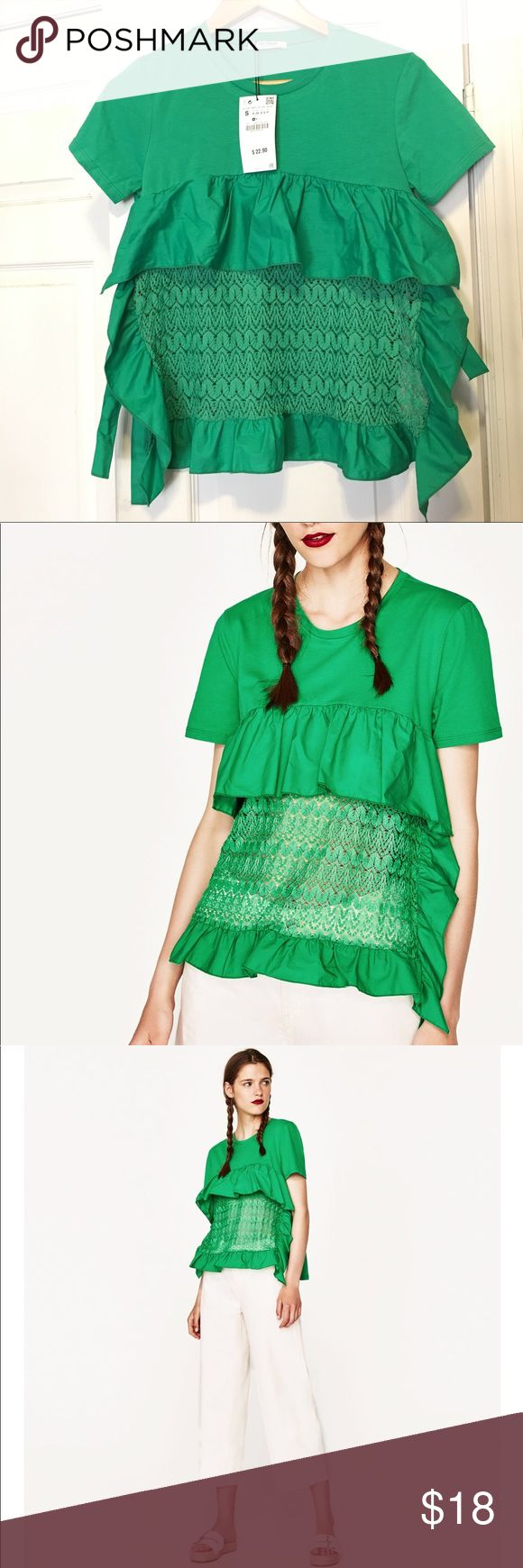 NWT sz S Green Zara Combined Crochet Tee short slv NWT bold green Zara Tee. S/S TRF collection. Round Neck w/short sleeves. Ruffle top and see-through center. Wide and flowy. Two ties--one on each side. Size S (0-4 due to the style). Back is solid tee shirt material. Color may vary, depending on lighting. Comes from a smoke-free + pet free + drug free home. Never worn. Bought, but too lazy to return. Zara Tops Tees - Short Sleeve