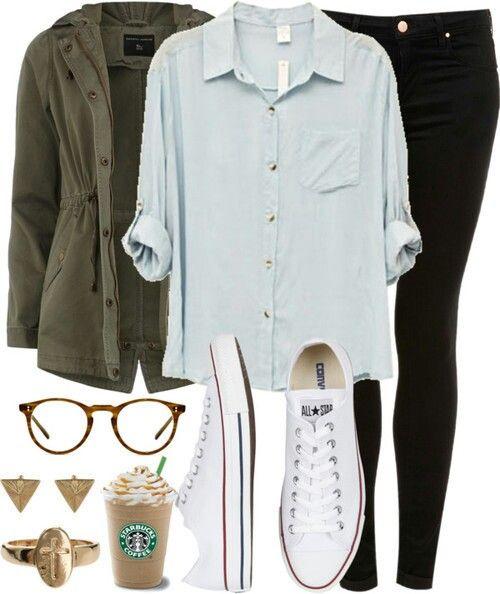 Military jacket, button up, black pants, converse, glasses.