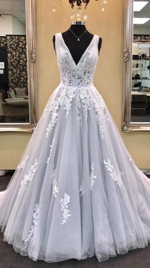 Gray v neck tulle lace applique long prom dress, gray evening dress