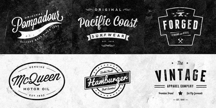Customizable Retro/Vintage Logos Emblems 6 Logos PSD