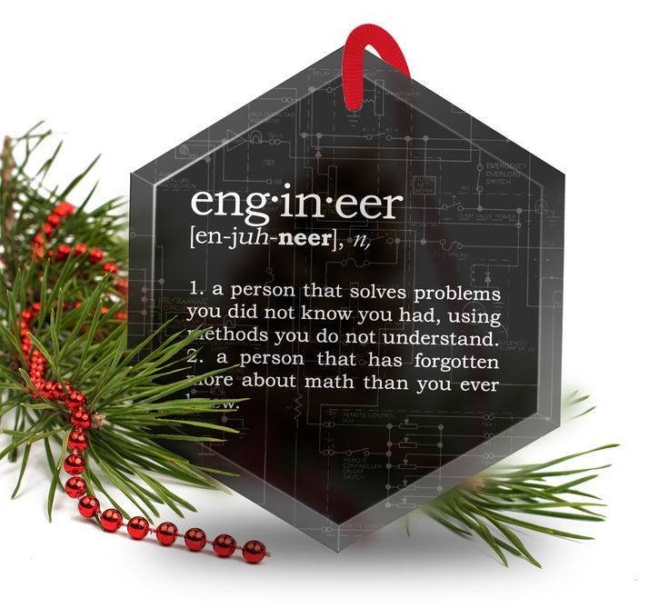 Engineer Definition Funny Glass Christmas Ornament