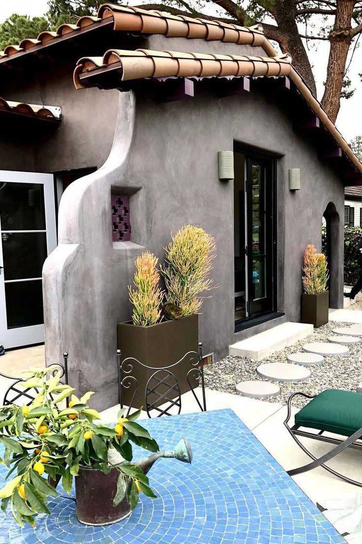 California Spanish Style Home Gray Exterior With Clay Tile