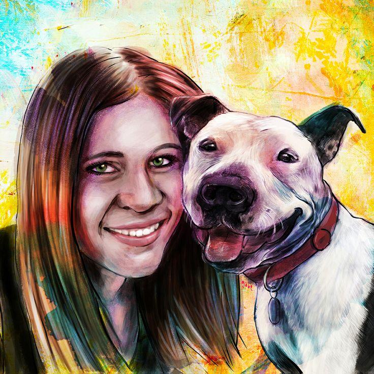 Commissioned portrait(s) of Vanessa and Rogan :)  Commission info & requests: https://www.etsy.com/au/listing/191989009/custom-pet-portrait-beautiful-digital?ref=shop_home_active_2