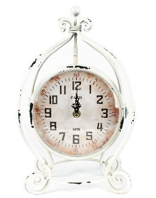 Get this shabby chic clock that has a matching face on both sides!