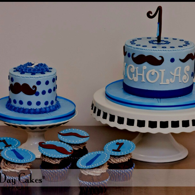 Grayson one year old Party birthday cake ideas for his mustache bash party!