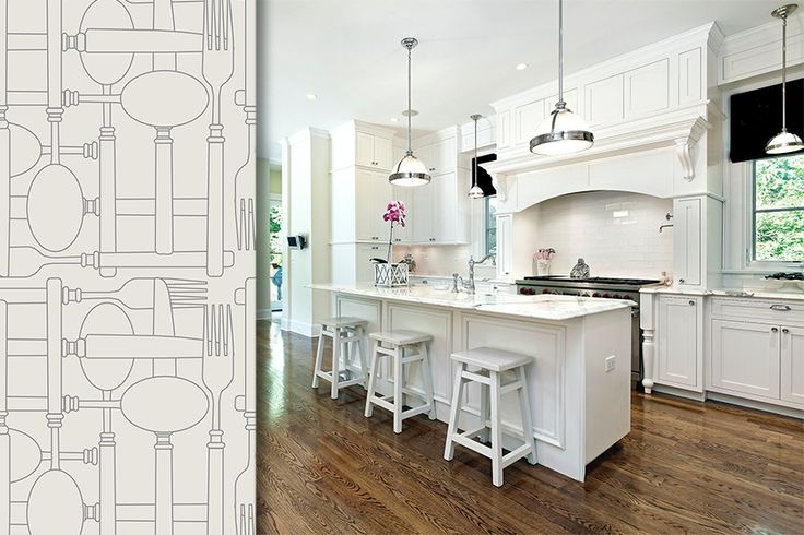 Kitchen beautiful wallpaper from contemporary for Kitchen design 8 x 6