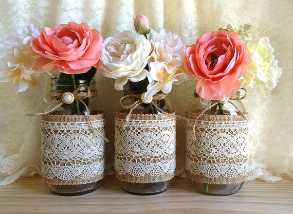 burlap and lace covered 3 mason jar vases wedding deocration, bridal shower, engagement, anniversary party decor on Etsy, $39.00