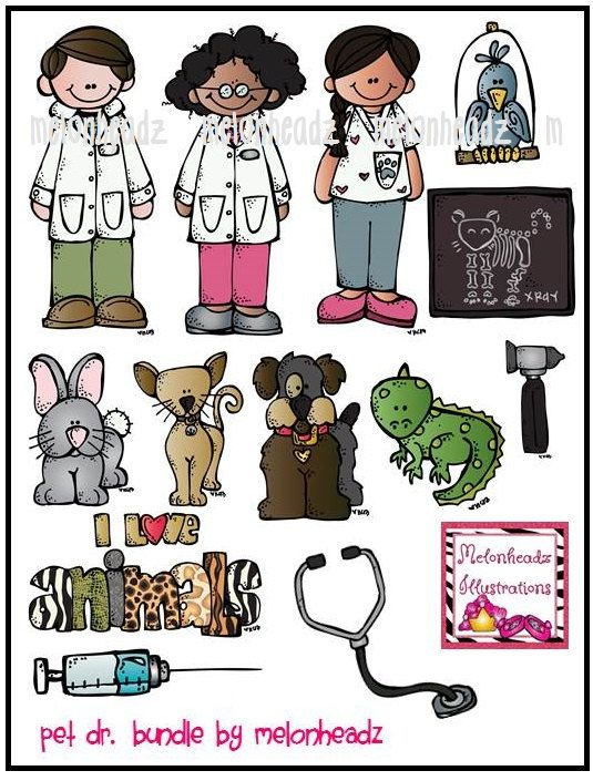 Pet doctor bundle by melonheadzdoodles on Etsy, $7.00