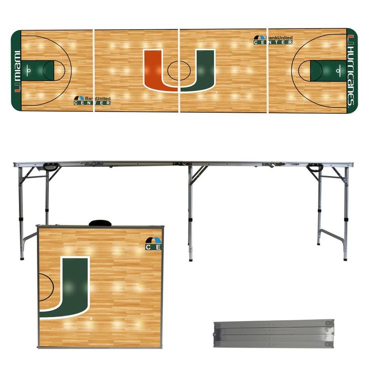 University of Miami Hurricanes 8 Foot Portable Tailgate and Pong Table