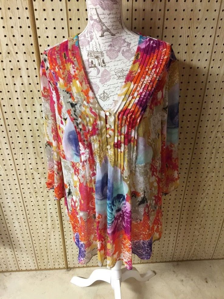 Tribal Abstract Floral Watercolor Multicolor Women's Sheer Blouse Shirt Top 16 #Tribal #Shirt #allOccasions
